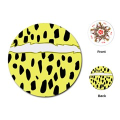 Leopard Polka Dot Yellow Black Playing Cards (round)  by Mariart