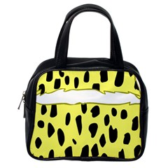 Leopard Polka Dot Yellow Black Classic Handbags (one Side) by Mariart