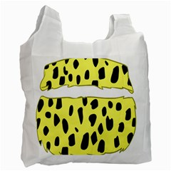 Leopard Polka Dot Yellow Black Recycle Bag (two Side)  by Mariart