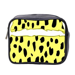 Leopard Polka Dot Yellow Black Mini Toiletries Bag 2 Side by Mariart