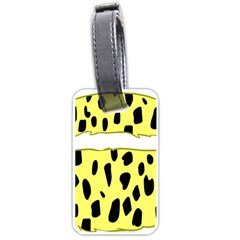 Leopard Polka Dot Yellow Black Luggage Tags (two Sides) by Mariart