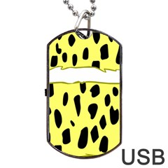 Leopard Polka Dot Yellow Black Dog Tag Usb Flash (one Side) by Mariart