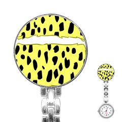 Leopard Polka Dot Yellow Black Stainless Steel Nurses Watch by Mariart