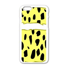 Leopard Polka Dot Yellow Black Apple Iphone 6/6s White Enamel Case by Mariart
