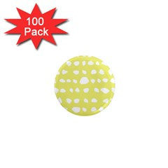 Polkadot White Yellow 1  Mini Magnets (100 Pack)  by Mariart