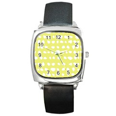 Polkadot White Yellow Square Metal Watch by Mariart