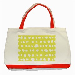 Polkadot White Yellow Classic Tote Bag (red) by Mariart