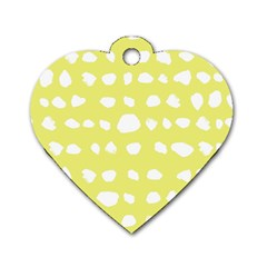 Polkadot White Yellow Dog Tag Heart (one Side) by Mariart