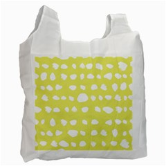 Polkadot White Yellow Recycle Bag (two Side)  by Mariart