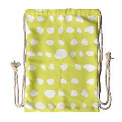 Polkadot White Yellow Drawstring Bag (large) by Mariart