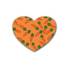 Carrot Pattern Rubber Coaster (heart)  by Valentinaart