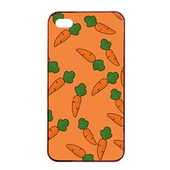 Carrot Pattern Apple Iphone 4/4s Seamless Case (black) by Valentinaart