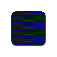 Split Diamond Blue Green Woven Fabric Rubber Square Coaster (4 Pack)  by Mariart