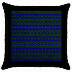 Split Diamond Blue Green Woven Fabric Throw Pillow Case (black) by Mariart
