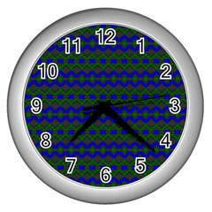 Split Diamond Blue Green Woven Fabric Wall Clocks (silver)  by Mariart