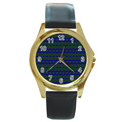 Split Diamond Blue Green Woven Fabric Round Gold Metal Watch by Mariart