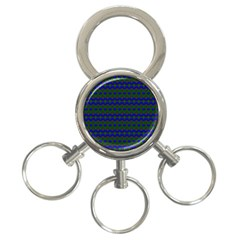 Split Diamond Blue Green Woven Fabric 3 Ring Key Chains by Mariart