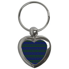 Split Diamond Blue Green Woven Fabric Key Chains (heart)  by Mariart