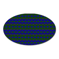 Split Diamond Blue Green Woven Fabric Oval Magnet by Mariart