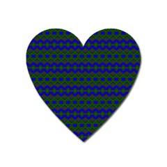 Split Diamond Blue Green Woven Fabric Heart Magnet by Mariart
