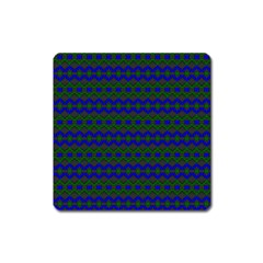 Split Diamond Blue Green Woven Fabric Square Magnet by Mariart