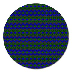 Split Diamond Blue Green Woven Fabric Magnet 5  (round) by Mariart