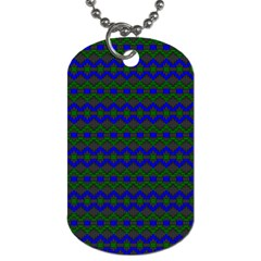 Split Diamond Blue Green Woven Fabric Dog Tag (two Sides) by Mariart