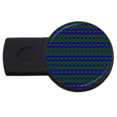 Split Diamond Blue Green Woven Fabric Usb Flash Drive Round (2 Gb) by Mariart