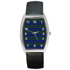 Split Diamond Blue Green Woven Fabric Barrel Style Metal Watch by Mariart