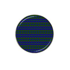 Split Diamond Blue Green Woven Fabric Hat Clip Ball Marker (4 Pack) by Mariart