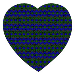 Split Diamond Blue Green Woven Fabric Jigsaw Puzzle (heart) by Mariart