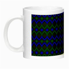 Split Diamond Blue Green Woven Fabric Night Luminous Mugs by Mariart
