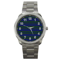 Split Diamond Blue Green Woven Fabric Sport Metal Watch by Mariart