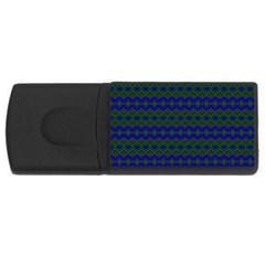Split Diamond Blue Green Woven Fabric Usb Flash Drive Rectangular (4 Gb) by Mariart