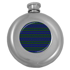 Split Diamond Blue Green Woven Fabric Round Hip Flask (5 Oz) by Mariart