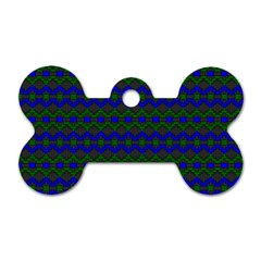 Split Diamond Blue Green Woven Fabric Dog Tag Bone (two Sides) by Mariart