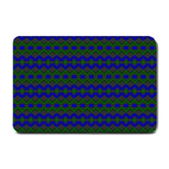 Split Diamond Blue Green Woven Fabric Small Doormat  by Mariart