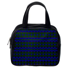 Split Diamond Blue Green Woven Fabric Classic Handbags (one Side) by Mariart