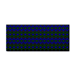 Split Diamond Blue Green Woven Fabric Cosmetic Storage Cases by Mariart