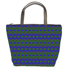 Split Diamond Blue Green Woven Fabric Bucket Bags by Mariart