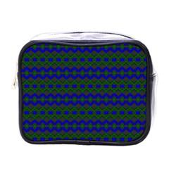 Split Diamond Blue Green Woven Fabric Mini Toiletries Bags by Mariart