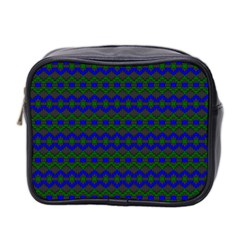 Split Diamond Blue Green Woven Fabric Mini Toiletries Bag 2 Side by Mariart