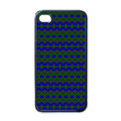 Split Diamond Blue Green Woven Fabric Apple Iphone 4 Case (black) by Mariart