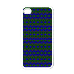 Split Diamond Blue Green Woven Fabric Apple Iphone 4 Case (white) by Mariart