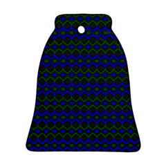 Split Diamond Blue Green Woven Fabric Ornament (bell) by Mariart