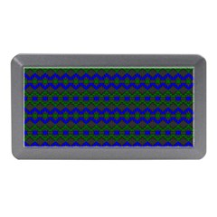 Split Diamond Blue Green Woven Fabric Memory Card Reader (mini) by Mariart