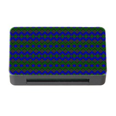 Split Diamond Blue Green Woven Fabric Memory Card Reader With Cf by Mariart