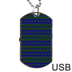 Split Diamond Blue Green Woven Fabric Dog Tag Usb Flash (one Side) by Mariart