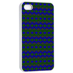 Split Diamond Blue Green Woven Fabric Apple Iphone 4/4s Seamless Case (white) by Mariart