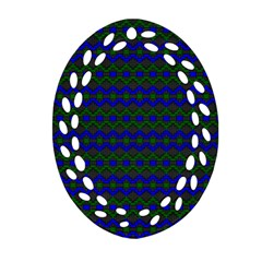 Split Diamond Blue Green Woven Fabric Ornament (oval Filigree) by Mariart